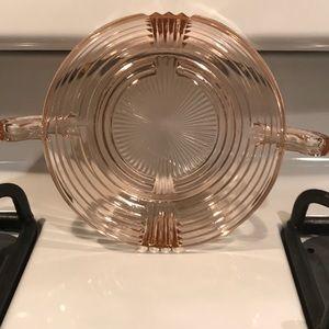 Vintage depression glass pink lunch bowl